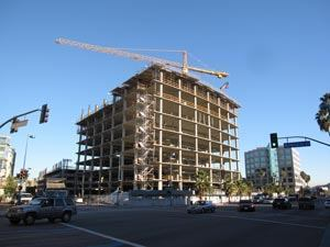 The nine-story NoHo office building in North Hollywood, Calif., features post-tensioned concrete in its floors.