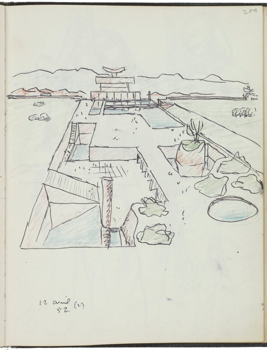 A garden study in pencil and ink on paper of the Governor's Palace at Chandigarh (1951–1965).