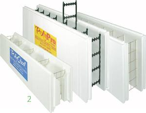 PolyPro 4000 knockdown flat wall formAmerican Polysteelwww.polysteel.com  Lightweight composite tied form    Can be used to create wall widths from 4 to 24 inches in 2-inch increments    2-foot-by-4-foot panels install 50-100 percent faster than most other ICFs    Form ties 6 inches on center    Multiple rebar cradles