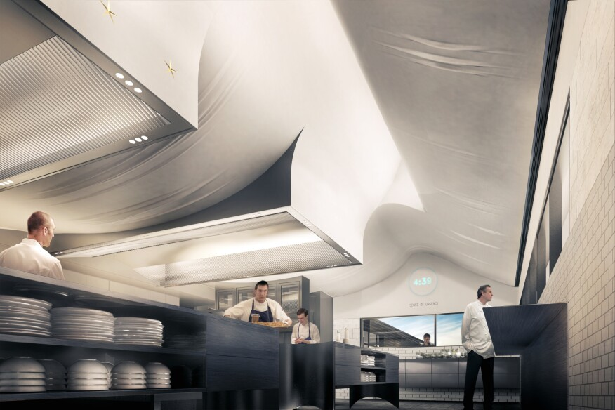 The form of The French Laundry's new kitchen ceiling will evoke a tablecloth being gently unfurled across a table, while also hiding the ceiling's functional elements. The sweeping vaults will create large skylights, flooding the kitchen with natural light and mitigating ambient noise for a more comfortable work space.