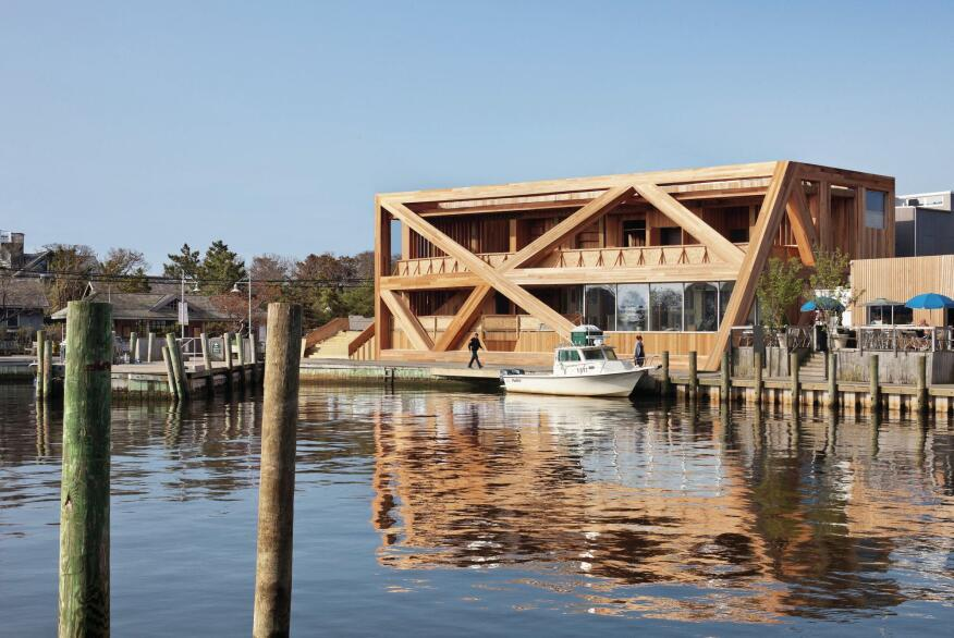 The new Fire Island Pines Pavilion will weather to match its harbor surroundings.