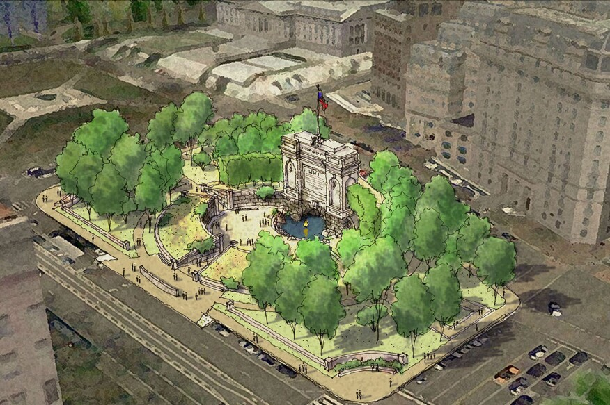 Aerial view of Kimmel Studio's shortlisted submission to the National World War I Memorial design competition.