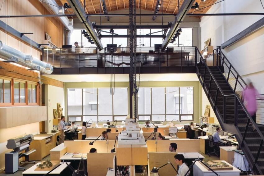 Walker Warner Architects' office occupies a 1920s San Francisco building