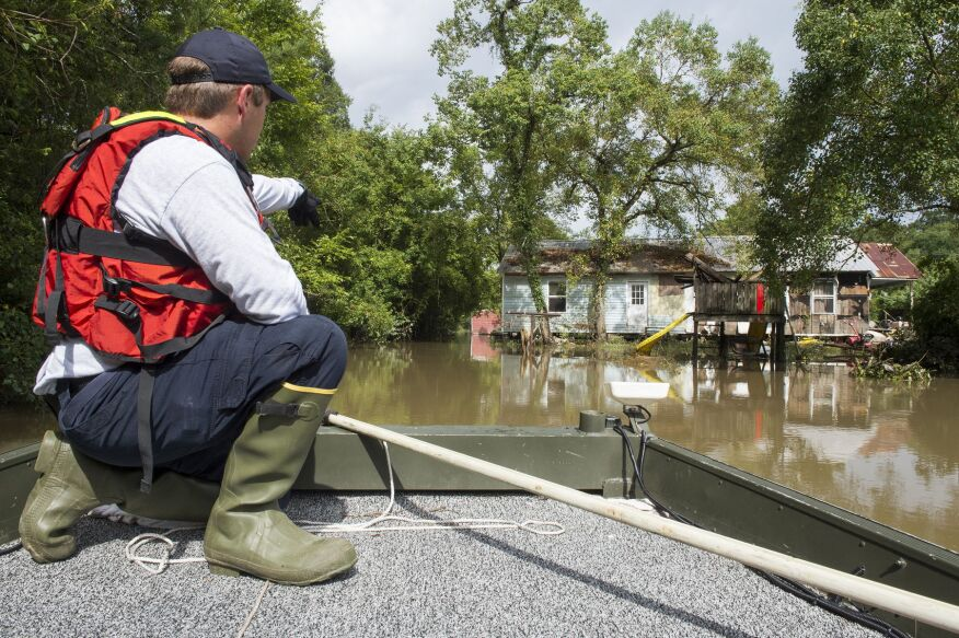 Regional Response Team Six conduct search and rescue operations by boat in Ascension Parish (photo courtesy FEMA).
