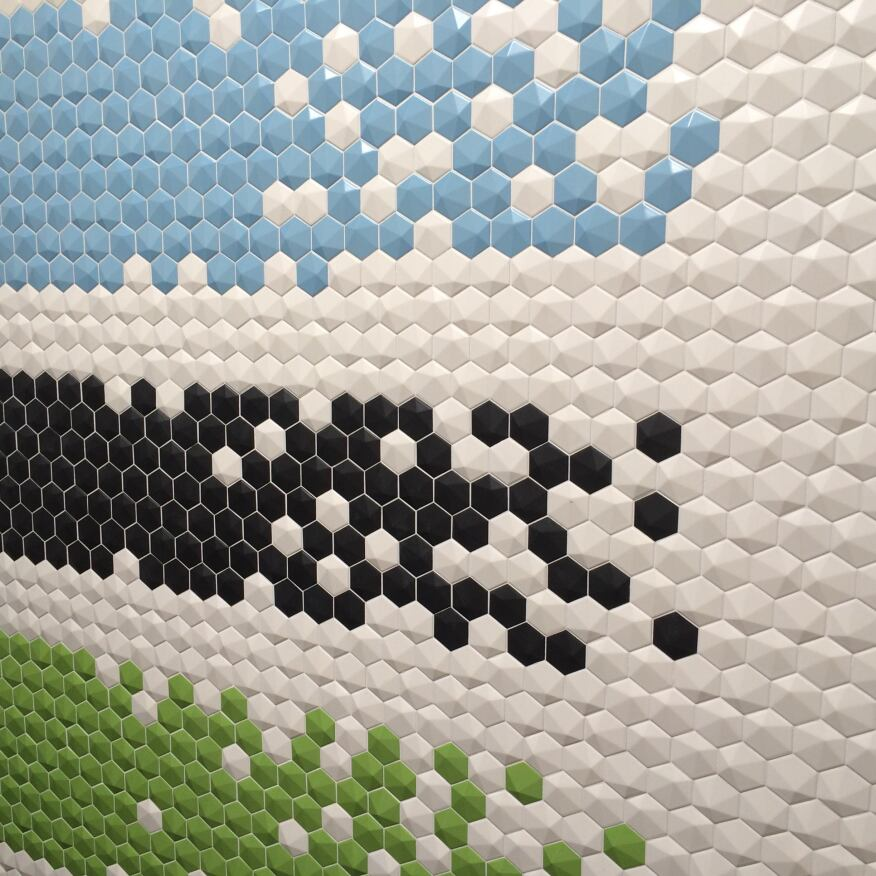 Natucer's 3D Hex wall tiles.