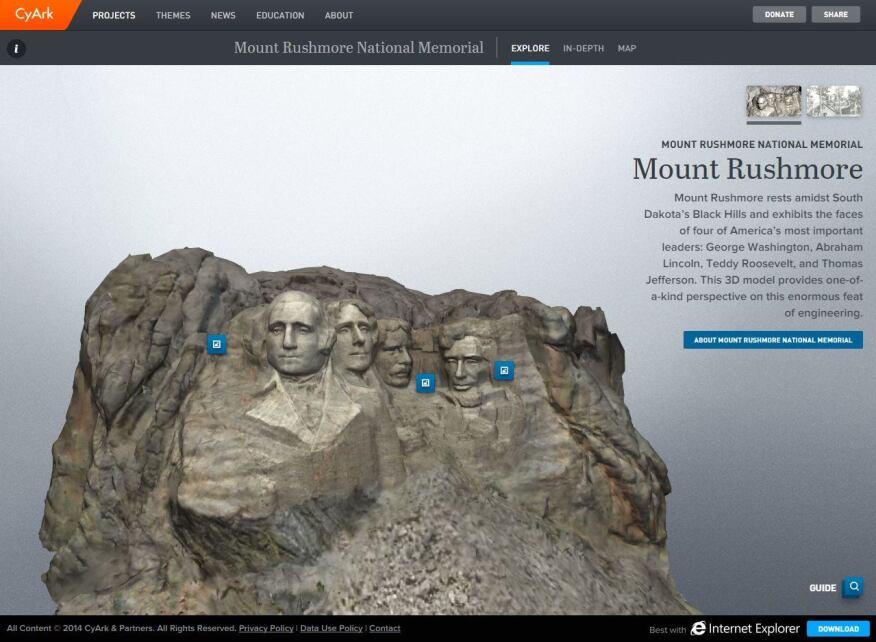 A screenshot of CyArk's WebGL portal for the Mount Rushmore National Memorial.