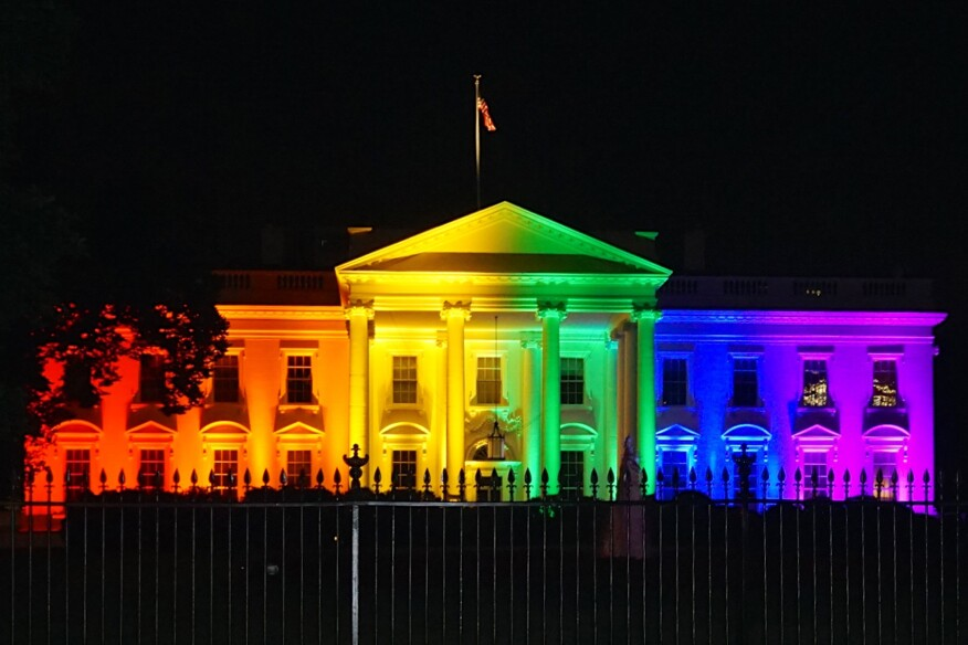 The White House was illuminated with a rainbow to celebrate the Supreme Court ruling on June 26, 2015, in favor of same-sex marriage.