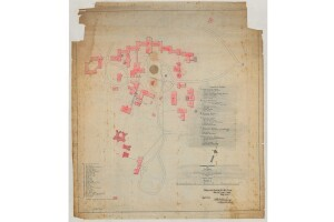 This 1895 site map shows the Center Building and other supporting structures of St. Elizabeths Hospital—then known as the Government Hospital for the Insane.