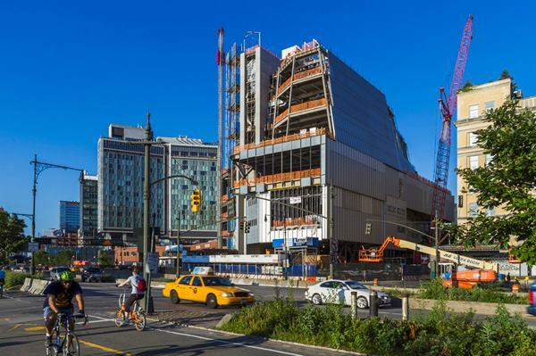 View of the new Whitney Museum building from the Hudson River Greenway in New York's Meatpacking District.