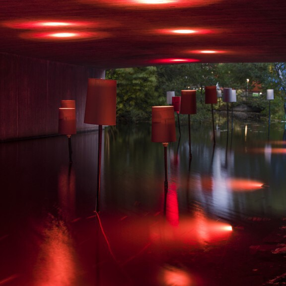 "One of the 2015 Lights in Alingsås installations titled ""Livingroom Under the Highway."""