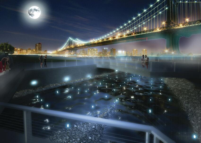 A rendering of Benjamin's proposed Pier 35 EcoPark along   New York's East River, designed in collaboration with Natalie Jeremijenko. The waterfront attraction will measure water   quality using mussels.