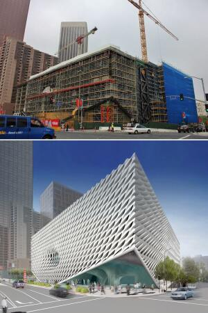Top: Exterior view, from Grand Avenue, of The Broad under construction. Bottom: Rendering of the exterior of The Broad from 2nd Street and Grand Avenue.