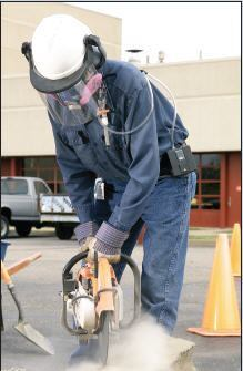 The ideal safety PPEs for a worker using a cutoff saw includes face shield, respirator, and gloves.