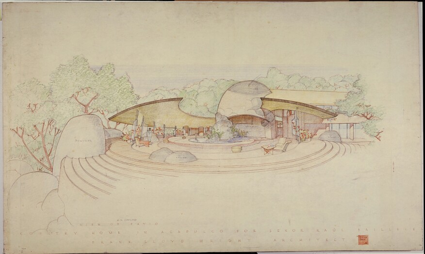 Raul Bailleres House (Acapulco, Mexico). Unbuilt Project. 1952. Brown ink, pencil and color pencil on tracing paper