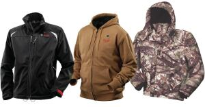 Left to right: Bosch 12V Max Heated Jacket, Milwaukee M12 Cordless Heated Hoodie, DeWalt 20V/12V MAX Camo Heated Jacket.