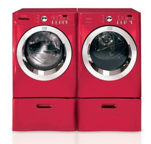 Frigidaire. The Affinity series laundry set is rated for a modified energy factor (MEF) of 2.31 and a water factor (WF) of 3.8, or about 28% and 97% better than current thresholds, respectively. The washer offers spin cycles up to 1,100 rpm and purports a 25-minute wash cycle among 25 wash options, including an Energy Saver mode that automatically reduces water temperature. The 3.5-cubic-foot-capacity unit offers a stainless steel tub and drum. 800.374.4432. www.frigidaire.com.