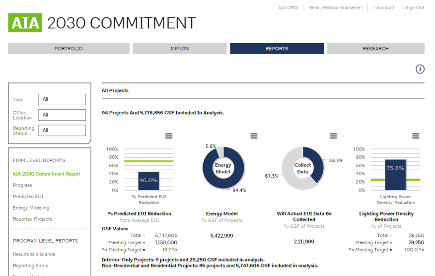 The interface of a new reporting tool for the AIA's 2030 Commitment.