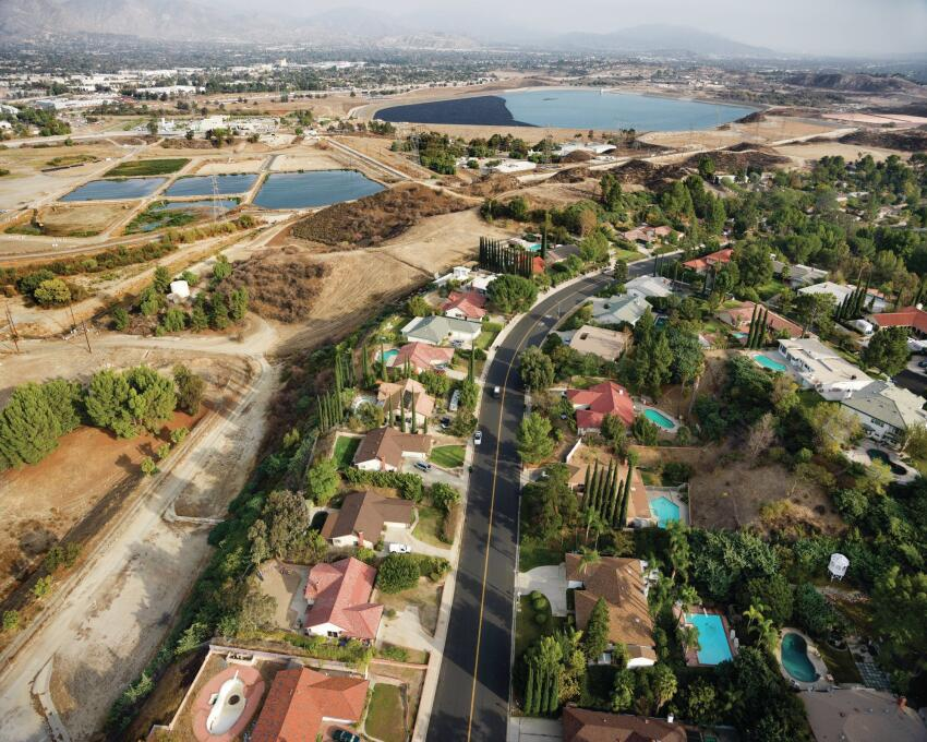 The Yarnell Debris Basin, located between the Upper Van Normal and Lower Van Normal Lakes in Granda Hills, Calif., captures soil runoff and diverts stormwater to the Santa Monica Bay.