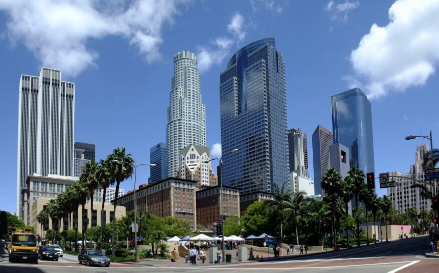 In this view of Pershing Square in downton Los Angeles, Harry Cobb's US Bank Tower is just left of center; the Gas Co. Tower, by SOM, is just right of center.
