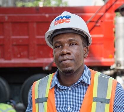 DDC's Emmanuel Louijenue, a 2013 graduate of Syracuse University, is managing a Safe Routes to School project in Manhattan - his first as a DDC Resident Engineer.
