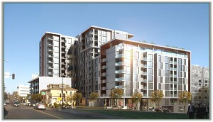 Wakeland Housing and Development Corp. is building Atmosphere, a 205-unit affordable housing development in downtown San Diego. The project replaces a failed condo deal that had been planned for the site by another firm. (Rendering courtesy of Joseph Wong Design Associates)