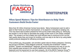 When Speed Matters: Tips for Distributors to Help Their Customers Build Decks Faster