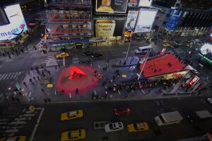 "Renderings of ""Heartwalk"" by Situ Studio in Times Square as part of the annual Valentine heart competition"