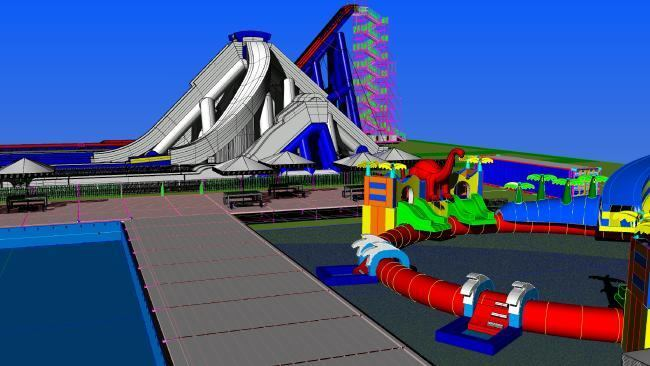 Amusement Leisure Consultants in Perth, Western Australia designed a temporary waterpark with towering inflatable slides.