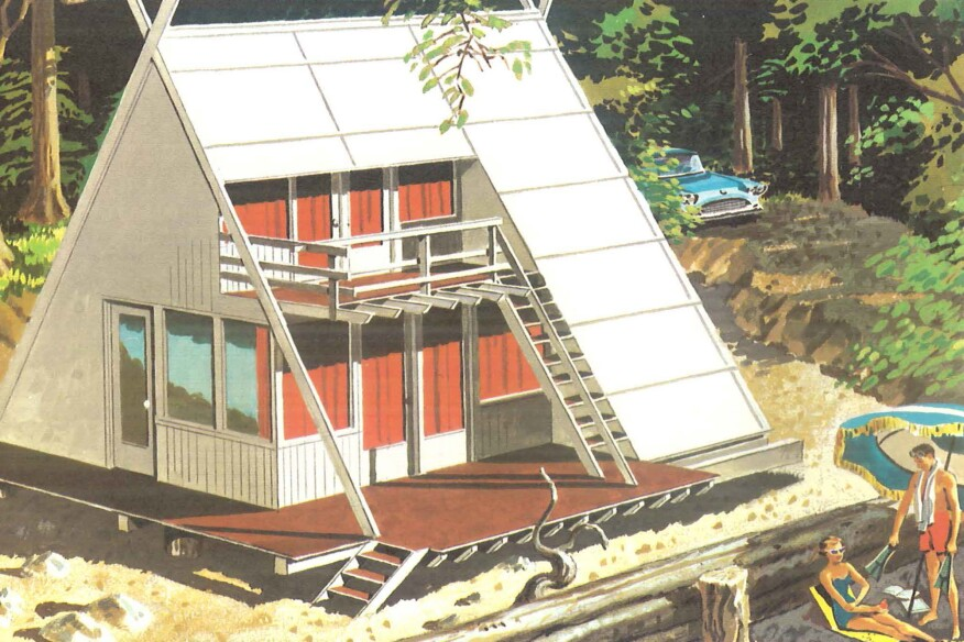A small-scale vacation home plan advertised by the Douglas Fir Plywood Association in 1960