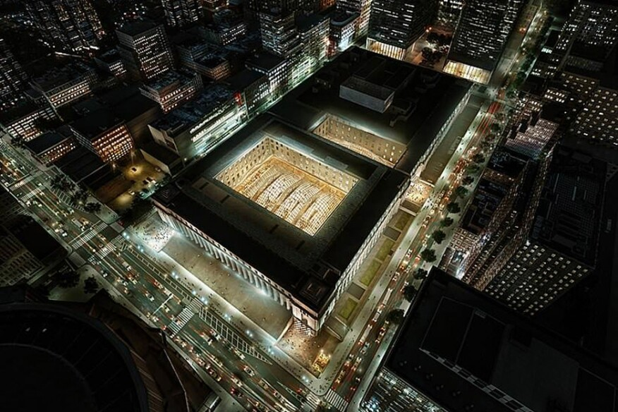 Aerial of the new Penn Station complex