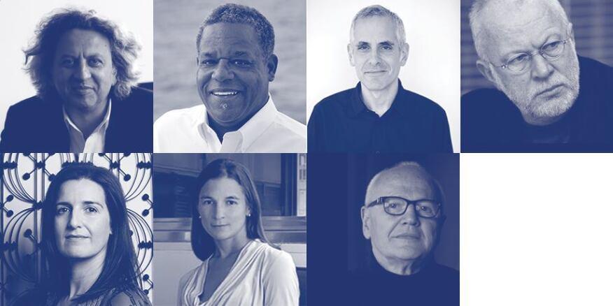 Clockwise from upper left: Mohsen Mostafavi, Craig Barton, Preston Scott Cohen, K. Michael Hays, Jorge Silvetti, Elisa Silva, Sarah Herda.