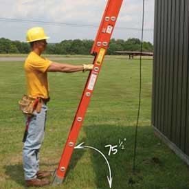 Always set up extension ladders at 75-1/2 degrees, which is a 4-to-1 ration of pitch. That means the base should be set back one foot from a wall for every four feet of height. As a rule of thumb, stand at the base and extend your arms.  If you can touch the fifth rung the ladder is in position.