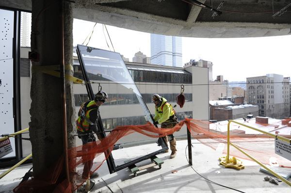 Double-glazed facades induce natural ventilation and create a thermal buffer. Under construction in Pittsburgh, the Tower at PNC Plaza is one of the latest buildings in the U.S. to be outfitted with the feature.