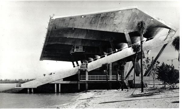 "The Miami Marine Stadium shortly after completion and before landscaping in 1963. ""If you want to work with natural materials in South Florida, you have to think concrete,"" he told ARCHITECT. ""If you open the ground up, you find oolitic stone. It's used every single day as an aggregate for concrete."""