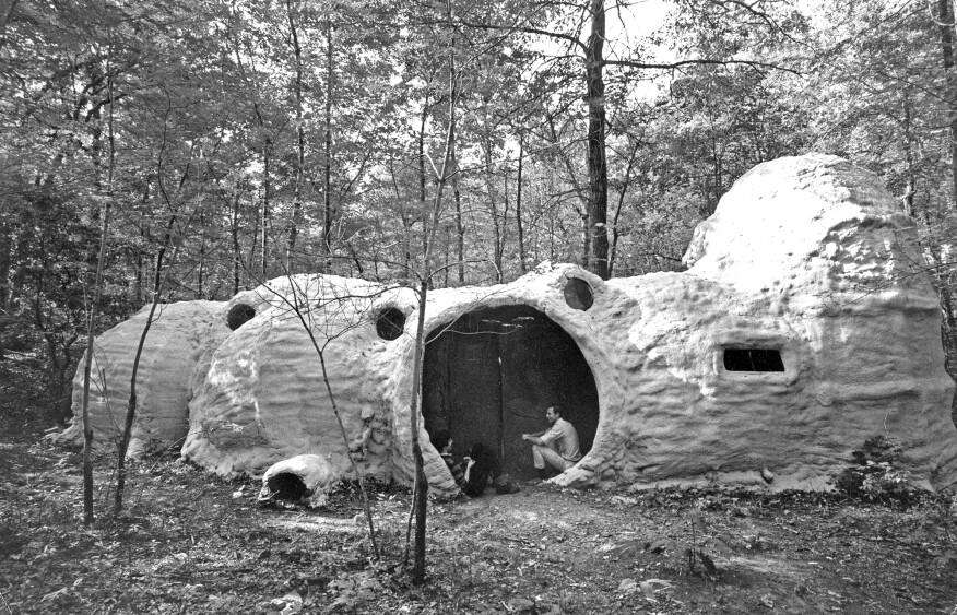 Inflatable foam house built on the Yale golf course in 1968