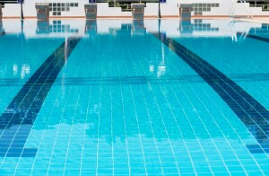 Blue line of lane in  swimming pool