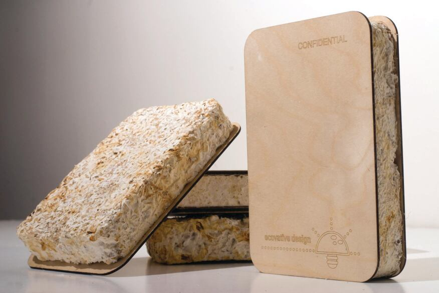 "Out of the Woods Greensulate insulation   board is ""grown"" from mycelium-injected   agricultural waste."