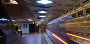 The Foggy Bottom/George Washington University stop on the Orange and Blue lines in Washington, D.C., features LED platform lighting as part of a pilot project (above).