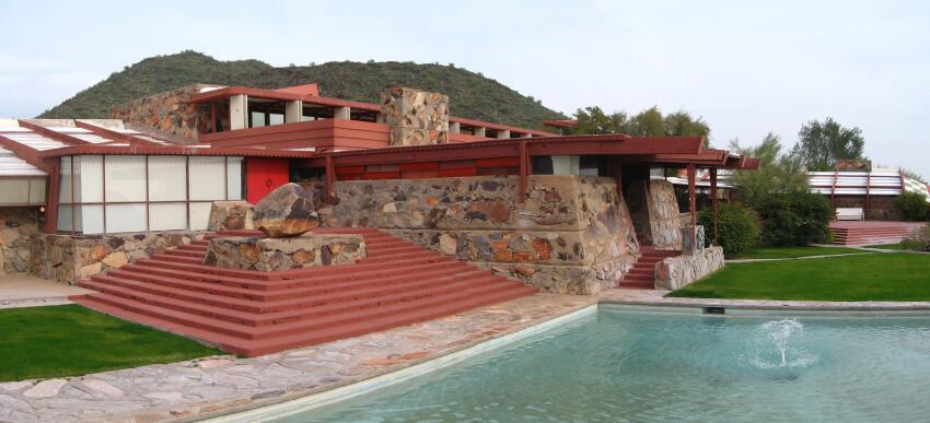 One of the buildings at Taliesin West, the Frank Lloyd Wright School of Architecture's main campus.