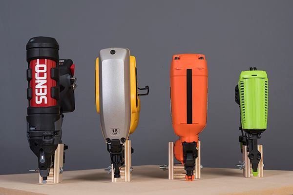 The new nailer weighs 4.4 lbs, and appears to be considerably smaller in size as compared to the Senco (6 lbs), DeWalt (7.5 lbs), and Paslode (4.6 lbs) nailers.