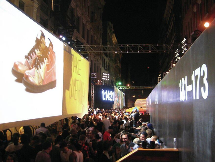A scene from the pop-up stadium Benjamin created with New York–based design group 2×4 for a Nike block party in New York's SoHo neighborhood.