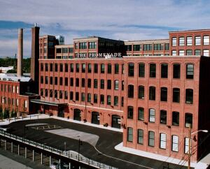 PROMENADE APARTMENTS  Architect: RGB, Providence;  Completion: 2005;   Cost: $42 million (construction);   Size: 285,000 s.f.  Then: manufacturing plant;   now: loft-style living. Preservation and adaptive reuse awards.