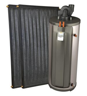 Caleffi. The SRCC-certified Solarie Solar Heat Pump is an all-in-one collector and storage tank system that eliminates the need for a separate backup water heater. Using demineralized water instead of refrigerant liquid as a heat exchanger, it pumps the water to its rooftop collectors only when sunlight is available, then drains the water to the holding tank during sunless periods. This prevents the system from freezing or overheating, even during power failures. When needed, water is heated automatically by a backup electric element or gas burner built into the tank. 414.238.2360.  http://www.caleffi.us/.