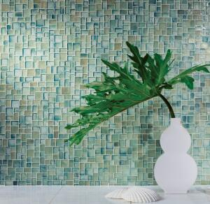 Oceanside Glasstile. The company partners with local curbside recycling programs to collect more than 2 million pounds of glass annually for the Muse collection of handcrafted mosaic glass tiles, which contain up to 86% recycled content. The tiles come in more than 40 colors and four finishes for limitless color scheme options. Freeze/thaw resistant, the tiles are shaped like diamonds, mini-bricks, and mini-sticks in addition to the 7/8-inch-by-7/8-inch square-mosaic pattern. 877.648.8222. www.glasstile.com.