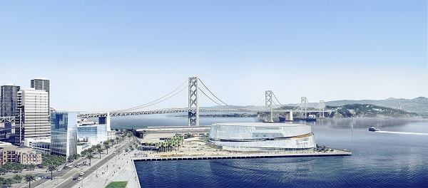 An early rendering by Snøhetta & AECOM of the Golden State Warriors arena on Piers 30-32 in San Francisco.