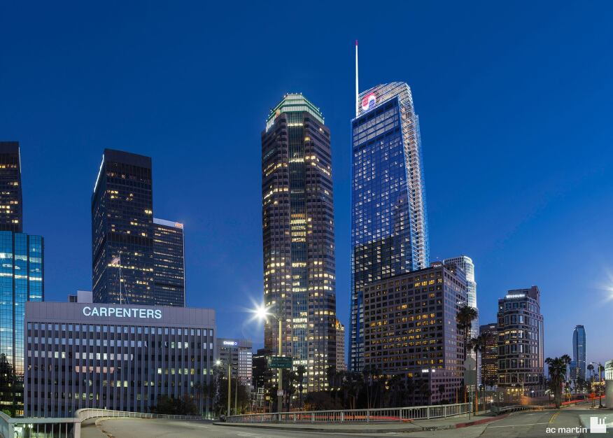A rendering of the Wilshire Grand Center in its downtown context.