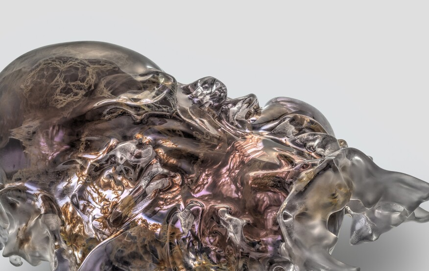 Mask 5 detail, Present series, Vespers collection. Designed by Neri Oxman and members of the Mediated Matter Group and 3D printed by Stratasys.
