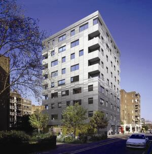Tall Order: A nine-story 29-unit tower in London was built with studs and laminated panels.