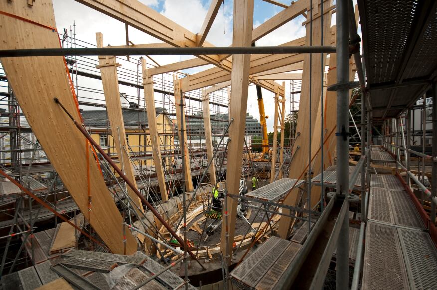 "The approximately 38-foot-tall, 2,900-square-foot Kamppi Chapel of Silence was built using traditional carpentry techniques and CAD-CAM technology, including CNC milling by the Helsinki-based Puupalvelu Rajala Oy. K2S collaborated with Finnish structural engineering firm Insinööritoimisto Vahanen Oy on the design. ""We thought the chapel should have a strong independent identity to reflect the contrast between its spiritual function in a commercial city,"" says K2S partner Mikko Summanen."