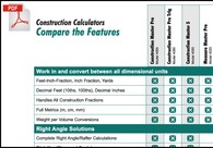 Comparison Chart: Which Construction Master calculator best fits your needs.